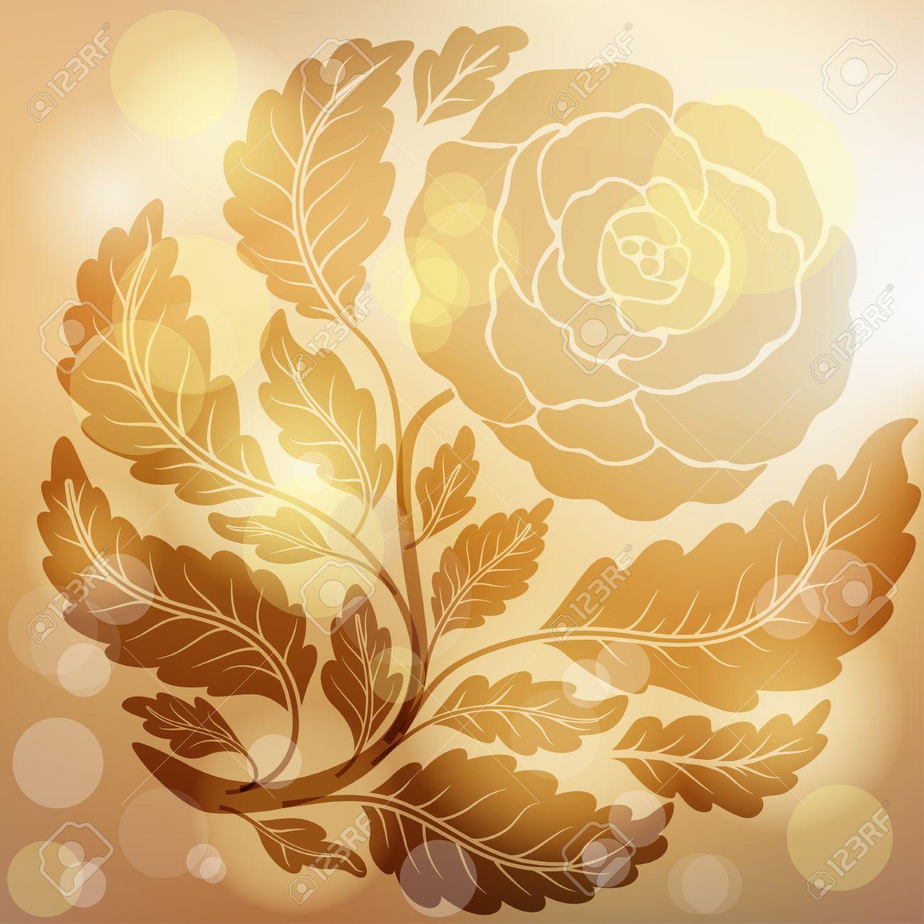 11950930 Retro Golden Rose Flower Gold