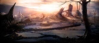 Fantasy sunset landscape by natmonney-d5mbd7t