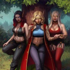 Serana and her partner, Aniah and her sister Alea by Cher Ro. Commissioned by my bestie <a class=