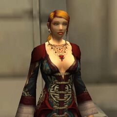 Seen wearing the elegant pandaren gown and matching necklace gifted to her by Hellissa Brisby
