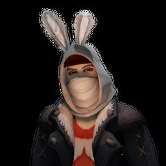 Nemond wearing his Rabbit hood.