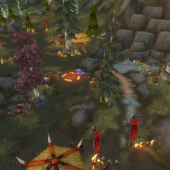 Darnassian forces attack the Shatterspear War Camp.