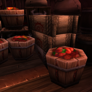 Barrels of apples awaiting sale in an auction house in <a href=