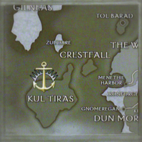 A map of Kul Tiras' major islands during the time of the Third War.