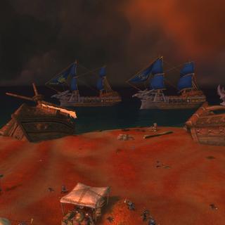The Highguard warship Enterprise, anchored off the coast of the Shattered Beachhead.