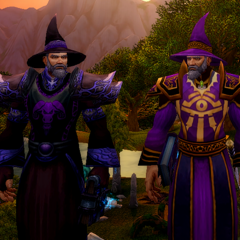 Departing Lord High Mage, Aetyleus Ardalan, wishing luck to the arriving Lord High Mage <a href=