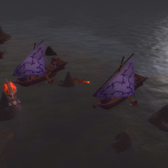 The Horde engages the Darnassian Fleet just off the shores.