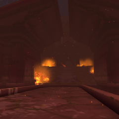 The Temple of the Moon in flames.