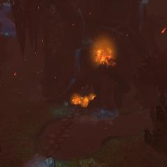 The Howling Oak in flames.