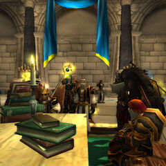 Manstein with Bishop Moorwhelp during an emergency meeting of Stormwind's leading persons at the outbreak of a plague.