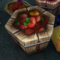 A barrel of apples that were brought to the <a href=