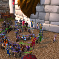 Preliminary Grand Alliance meeting prior to the Conquest of Zandalar. Aetyleus stands inner-circle with the commanders of the Grand Alliance.