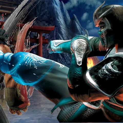 Sub-Zero luchando contra Akuma