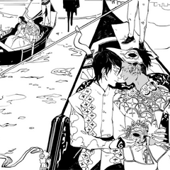 Malec and Heline boating in Venice (non-canon; promotional art)