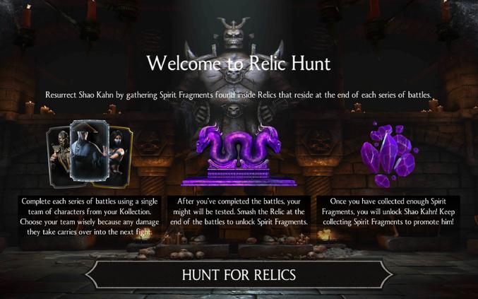 Relic Hunt | Mortal Kombat Mobile Wikia | FANDOM powered by Wikia