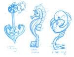Celinechoo mermaid key sketches