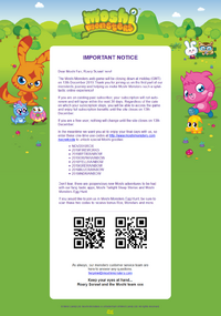 Moshi Monsters closing message 13-11-2019