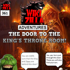 The crouching Skele-Man takes Deathrock9 and Slimer to the door that leads to the King's throne room.