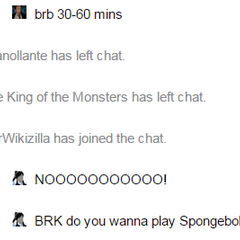 The Wikizilla chat states that Titan has left the chat even though he is still there