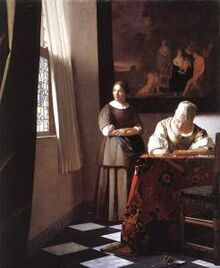 Lady-writing-a-letter-with-her-maid