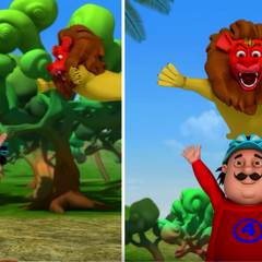 The lion raja attempts to ambush Motu