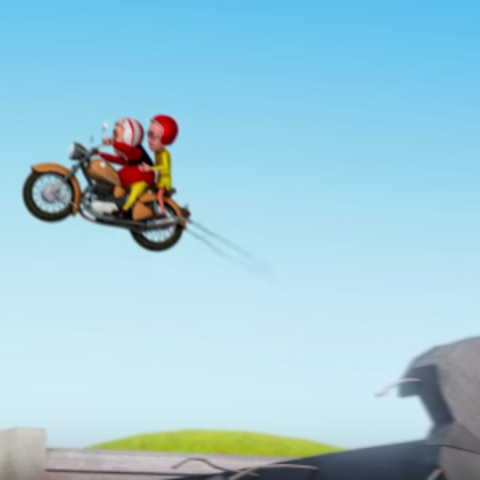 Motu and Patlu fly the bike over a broken bridge to rescue the mayor