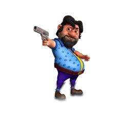 John pointing his pistol.