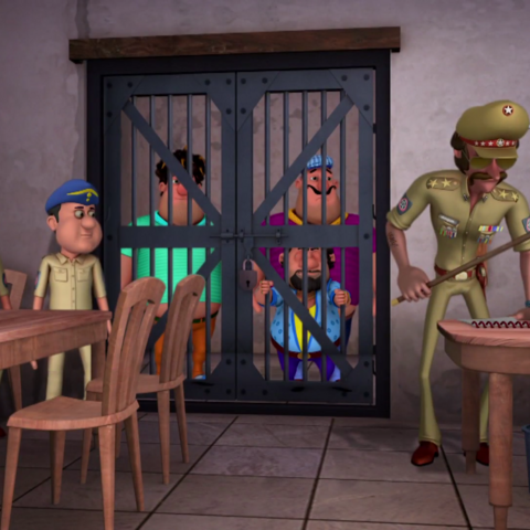 Jon and his goons locked up in the jail