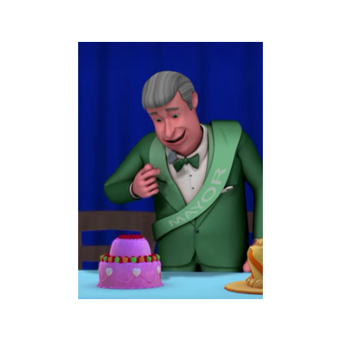 The mayor tasting cake during the cake competition
