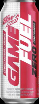 Mountain Dew Amp Game Fuel ZERO Charged Raspberry Lemonade 16 oz can design