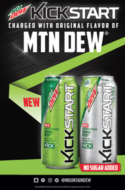 Mountain Dew Kickstart charged with Original Dew and Mountain Dew Kickstart Ultra