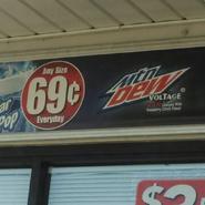 Mountain Dew Voltage sign at Circle K
