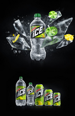 Mountain Dew Ice in bottles and cans