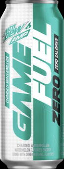 Mountain Dew Amp Game Fuel ZERO Charged Watermelon 16 oz can design