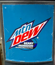 Mountain Dew Berry Monsoon early fountain label design