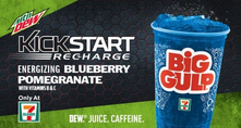Mountain Dew Kickstart Blueberry Pomegranate only at 7-Eleven