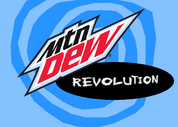 Mountain Dew Revolution logo in a blue swirl background