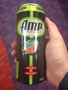 A photograph of a Mountain Dew AMP can
