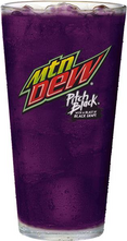 Mountain Dew Pitch Black cup design with a tagline