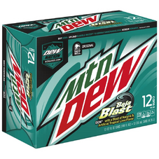 Mountain Dew Baja Blast in alternative 12 pack cans