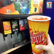 Mountain Dew Solar Flare in the fountain machine at 7-Eleven in the Philippines
