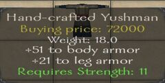 Hand-crafted Yushman Armor