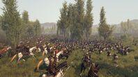 Vlandia cavalry charging into khuzait infantry