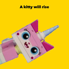 A poster with Unikitty on a yellow background, based on the poster for Seth Rogen's 2016 R-rated animated film <a  class=