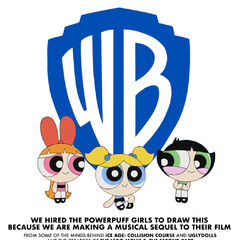 Poster of the Powerpuff Girls thinking that they drew the 2020 Warner Bros. logo