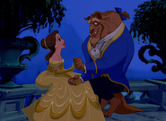 Once Upon a Time, Belle and Beast in the balcony at Night Time