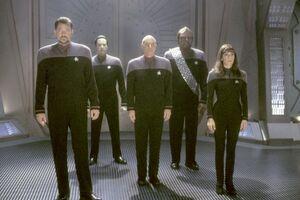 Jonathan-Frakes-as-Commander-William-T.-Riker-Brent-Spiner-as-Lieutenant-Commander-Data-Patrick-Stewart-as-Captain-Jean-Luc-Picard-Michael-Dorn-as-Lieutenant-Commander-Worf-and-Marina-Sirtis-as-Counselor-Deanna-Troi-in-Paramoun-10