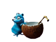 Morton with a coconut