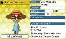 Mrs. Wicket's Friend QR Code Contents
