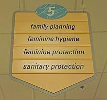 Drugstore aisle sign with euphemisms